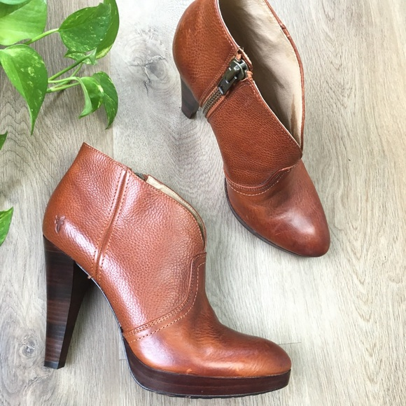 FRYE Brown Leather 'Harlow Campus Bootie' Sz 9